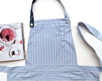 Pink and Blue Striped Apron, Cotton Apron, Craft Apron, Recycled Fabric, Home Gift, Kitchen Present, Vegan Gift, Vegan Foodie Gift, Foodie ∞