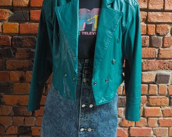 Women's 80s Green Cropped Leather Jacket With Shoulder Pads Size Small
