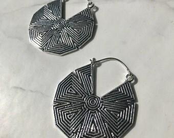 Tribal Hoop Earrings, Mayan, brass silver plated