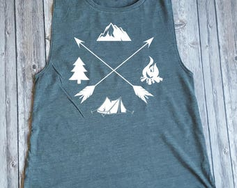 Camping, Outdoors, Mountains, Campfire, Tent, Arrows Muscle Tank Design