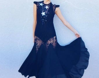 Seein' Stars Dress | 1980s Vintage 80s Does 30s Sheer Black Lace Sequin Stars Illusion Dress | Size S/M