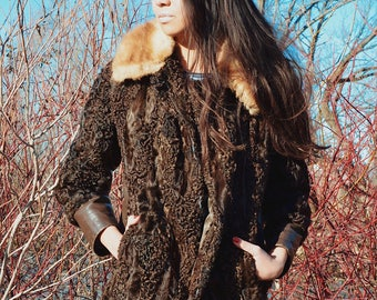 Vintage Brown Poodle Fur Coat, Brown Boucle Fur and Leather Jacket, Mink Collar