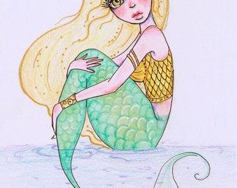 Valkyrie Blonde Mermaid Drawing | Fantasy Illustration
