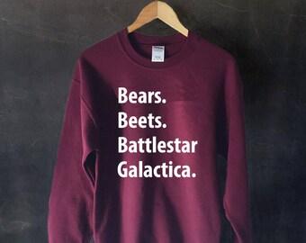 The Office Sweatshirt, Bears. Beets. Battlestar Galactica, Dwight Schrute Quote, Michael Scott, Jim Halpert, The Office T-Shirt,Funny Office