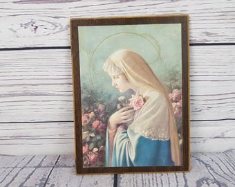 Vintage Virgin Mary Mother Wood Plaque Possible Wall Art Hanging Religious Gift Catholic Christian Baptism Confirmation Madonna Ornament