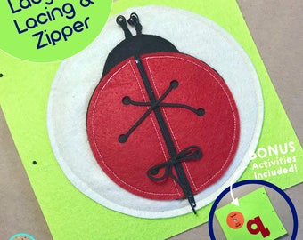 Ladybug Page for TinyFeats Quiet Book - Ladybug Lacing and Zipper Activity - Montessori Educational Toy for Toddler and Preschool Kids