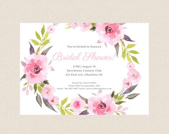 Floral Wreath Bridal Shower Invitation, Digital or Printed, Pink Flower, Invite, Bridal Engagement