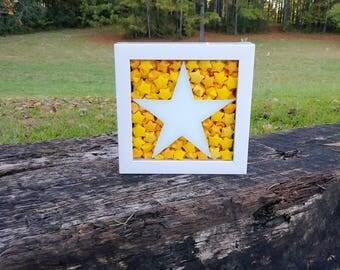 Origami Star Shadow box, Origami Shadow Box, Star Art, Shadow Box Art, Origami Stars, Origami Art, Star Decor, Star Wall Art, Lucky Stars