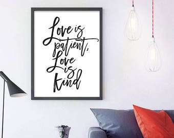 Love is patient, Love is kind - Christian wall art, Digital Download, Wedding Art, bible typography, wall decor, bible verse wall art, print