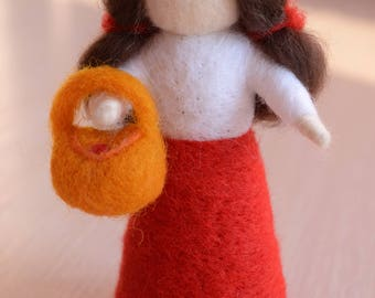 Wool doll Felt girl to play Fairy tale plaything figurine Needle felted doll Soft toy Gift for girls Waldorf figure girl with handbag doll