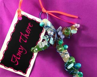 Handmade sea glass, beaded, wire cross