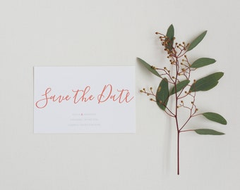 Printable Save the Date card - Rustic Coral Save the Date - Printable PDF Template - Modern Minimal Save the Date