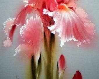 Iris Cross Stitch Pattern-Flowers Cross Stitch-Printable Pink Iris Pattern-Digital Iris Print-Pdf File