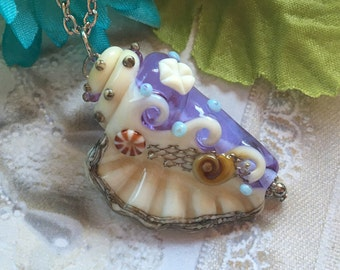 SALE - Lavender Conch Shell Lampwork Pendant, Lampwork Pendant/Necklace, Lampwork Jewelry, Conch Shell Pendant, Mothers Day, Gift For Her