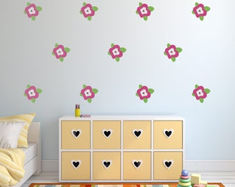 Flower Wall Decals   Floral Nursery Wall Art   Garden Theme Stickers For  Baby Boy And