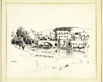 Antique Ink Sketch, Antique 1930s Art, Rhayader Wye River, Wales Landscape, British Landscape, English Countryside Picture, Walter M Keesey