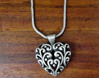 925 Sterling Silver Elegant Heart Necklace - Vintage