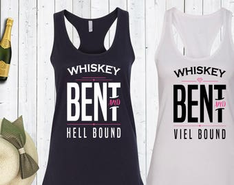 Whiskey Bent and Veil Bound and Hell Bound Matching Bachelorette Tank Tops. Bachelorette Party Shirts.Bride Tank. Bridesmaid Shirts.