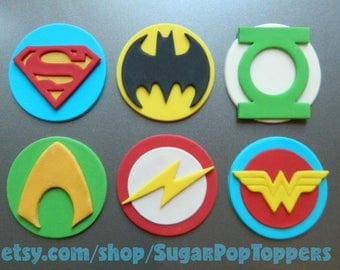 Fondant Super Hero Cupcake Toppers ( Justice League party, Justice League birthday, Batman birthday, Superman cake topper, Wonder Woman )