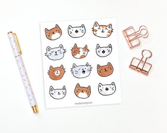 Cat stickers - 12 kitty planner stickers, decorative stickers, animal stickers, cute stickers, bullet journal stickers, bujo stickers