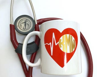 Monogrammed Coffee Mug for Nurse - Physician Assistant - Doctor - Medical Monogram Mug - Heartbeat Mug - Heart Monogram