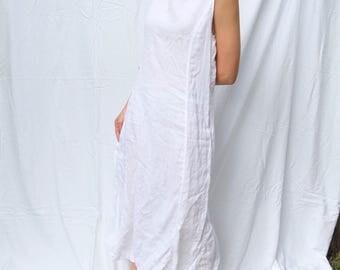 Vintage Armani-Jeans Linen Minimalist White Maxi Dress w/ Back Slit- Perfect Summer Staple- Sz 4