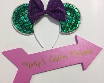 Ariel Mickey Ears, Ariel Minnie Ears, Little Mermaid Disney Ears