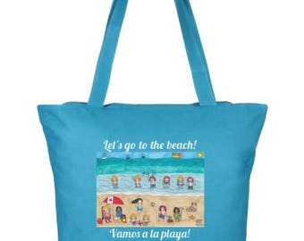 Let's Go to the Beach Bilingual Tote Bag