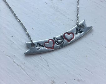 Chicken Love Pewter Bar Necklace