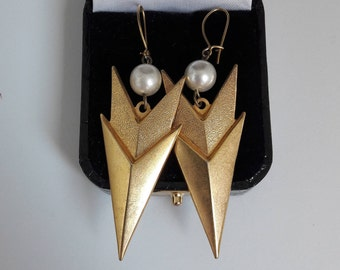 Art Deco Gold and Pearl Earrings