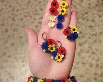 Flower jewelry set, Natural Floral jewelry, daisy camomile poppy sunflower cornflower jewelry, Wildflowers jewelry, Summer jewelry set
