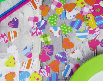 Rainbow patterned heart table sprinkles, Bright colours & pastel options, birthday party, Hen do, Wedding confetti, Engagement