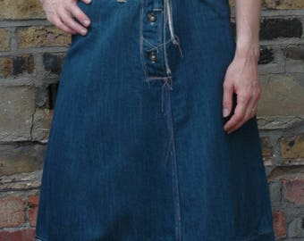 Levis LVC Red tag limited edition collectable dconstructed denim a-line skirt, M uk 10/12, indigo
