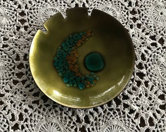Handcrafted Bovano of Cheshire Vintage Ashtray, Crescent Moon Enamel Ashtray from Connecticut
