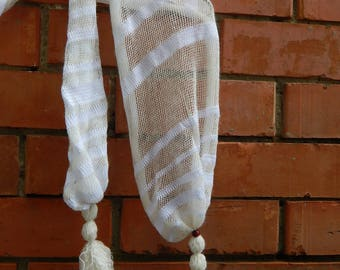 White Scarf, Scarf cotton, knit nettle scarf, summer shawl, summer scarf, nettle, eco, boho, striped scarf