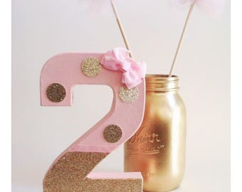Pink Number 2, Free Standing Numbers, Pink and Gold, Second Birthday
