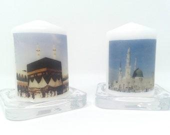 Makkah Medina candles Mecca Ka'baa Kabba Hajj gift Umrah gift Hajj Mubark Umrah Mubarak customised candle personalised candle personalized