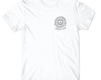 Spread Peace Shirt - Pocket Tshirt Womans Shirt Mens Shirt Hippie Tee Love Peace Freedom Sun Flower Floral Cute Graphic Tee Present Symbol