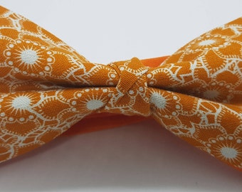 Orange Floral Bow Tie