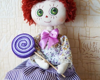 Rag doll Raggedy Ann with lollipop doll textile doll for her helluin doll textile