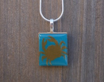 Handmade gold crab scrabble necklace