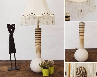 Savannah tribal earthy neutral unusual table lamp small fringed empire beads handmade unique one off gift ideas house warming