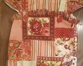 Infant summer romper, rose,stripe, patchwork romper outfit