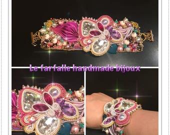 Shibori silk soutache bracelet
