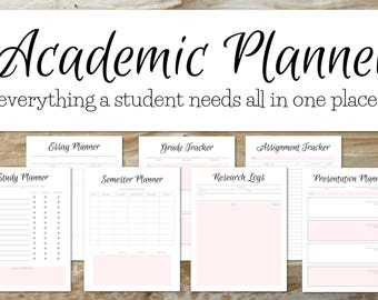 Academic Planner | SOFT PINK | Student Planner 2017-2018, Academic Planner 2017-2018, Daily Planner, School Agenda, Grade Tracker, Filofax |