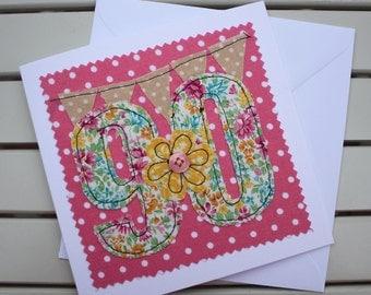 90th Birthday Card - Handmade - Machine Embroidered - 90 - Personalised Insert