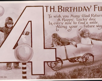 Vintage postcard of a young Children Playing ~ 4th Brithday Fun.