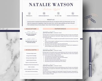 Creative & Professional Resume/CV Template; modern cv, Resume Templates for MS Word and Pages; Cover letter + tips; Instant digital Download