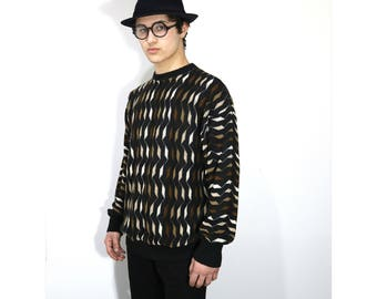 Vintage Clothing • 1980's Men's Knit Sweater • Brown and Black Crewneck Pullover • Made in USA