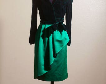 Vintage Victor Costa for Lord & Taylor Green Velvet Evening Gown